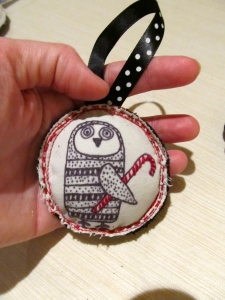 Owl with Candy Cane Ornament