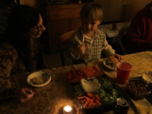 Explaining the Christmas Eve Eve tradition to Eli.