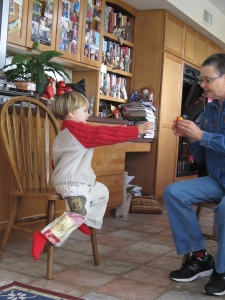 Eli in Treasure Pocket Pants Christmas Day
