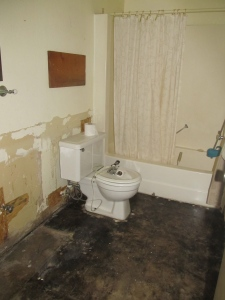 The main bathroom minus damaged shelving, waiscoating and sink.
