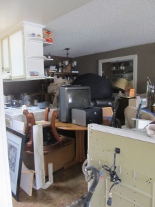 The kitchen, dining room and living room are storing all contents of the home at this point.