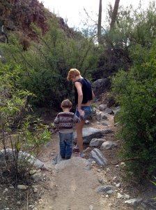"With Carly on your Christmas desert hike. You went off on the hike with relatives and without your parents and had the time of your life! You still talk daily about the ""pokey"" cactus, though I'm very glad they made such an impression on you without any painful encounters. You are a good listener and take adult warnings seriously... cautious like your father :-)"