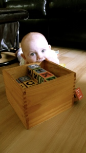 Zoe and alphabet blocks