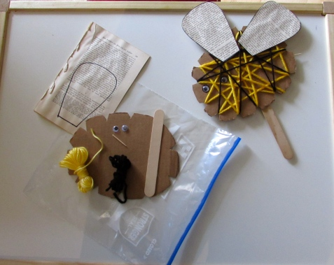 Materials and Bee Craft Sample