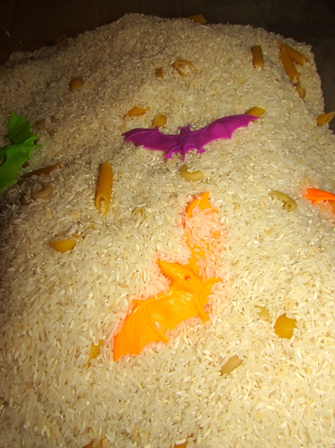 rice sensory bin with bats
